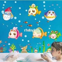 baby classroom - Wall stickers home decoration Cartoon children s room bathroom toilet nursery classroom layout removable wall stickers XY8109 baby fish