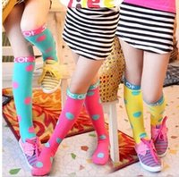 Wholesale 2014 winter baby girls fashion socks sweet candies colors socks knee high socks korean Polka Dot princess Stockings children socks LZ0002
