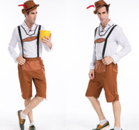 Wholesale 2015 Fat people suspenders trousers male models Oktoberfest Halloween cosplay costume Carnival festival adult cosplay clothing