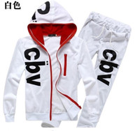 Wholesale HOT NEW fashion Men s suits Hooded t shirt pants printing design Men hit color Leisure sports suit