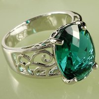 class ring - Elegant A0029 Plated Top Class Austrian Crystal val Cut Green Topaz Gemstones Sapphire Luxury Square Wedding Lady Ring In Stock