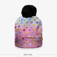 animal chip - 10 colors D Digital Printing Emoji Chips Beanie Skullies a Pompoms men women Fashion Winter Knitting Hats
