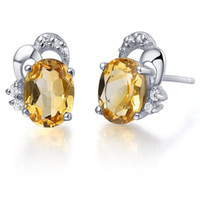 Cheap Flammable volcano jewelry jewelry 925 silver natural citrine earrings female SE0025C