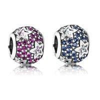 Wholesale Romacci Brand Star CZ Diamond Bead for European Charm Bracelet DIY Jewelry Women S925 Sterling Silver