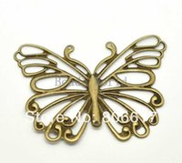 filigree findings - Bronze Tone Filigree Butterfly Wraps Connectors Pendants DIY Jewelry Finding x50mm W03491 X