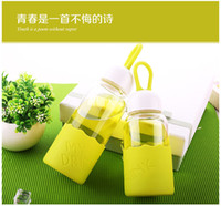 Wholesale Lovely creative gift water glass bottle cup forgirls and women with high temperature ml ml pink green blue corlors