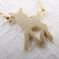 bambi pendant - Lovely bambi necklace in gold silver tiny bambi deer pendant necklace XL112