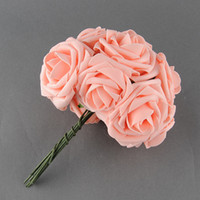 Wholesale Pretty Charming Heads Lovely Cute Artificial Rose Flower Wedding Bridal Bouquet Home Decor Color