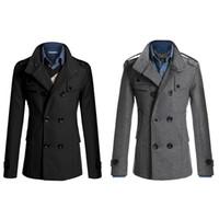 Wholesale S5Q Men Casual Windbreaker Thicker Wool Double Breasted Long Jacket Slim Coats AAAEJK