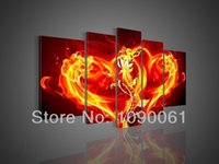 Cheap Handmade Fire Flower Hearts Oil Painting Red And Yellow Modern Abstract 5 Panel Wall Canvas Art Sets Decorative Picture Unframed