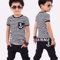 Wholesale High quality children s summer clothing boy s summer navy stripes set with printing Anchor kid s cotton summer clothes suit