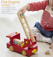 Cheap Forest Fire ladder truck Japan ed.inter wooden toy car toy poultry Fire