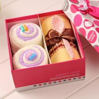 baby cakes towel sets - Cute Cake Towel Creative Swiss Roll Towel Mini Cotton towel Wedding Souvenir Festival gifts Box Packing pieces box color