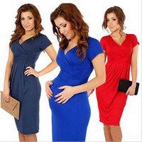 Anti-radiation Summer A-Line Summer Maternity Dress Elegant Gravida Dress V Neck Plus Size Elastic Pregnancy Clothes Knee Length Short Sleeve Pregnant Women LJJE480 20pc