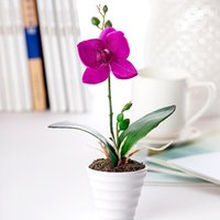 artifial flowers - cute set vase Phalaenopsis artifial flower silk flower for home decoration colors flower set