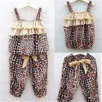 Cheap 2015 Hot Children's Baby Girls Summer clothes Leopard Vest+Pants sets Outfits 2pcs