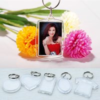 Wholesale hot Blank Acrylic Keychains key chains Insert Photo plastic Keyrings