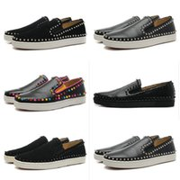 low heel dress shoe - designer Spikes Roller boat shoes Flat low top Red Bottom pik boat Men Women studs casual shoes Genuine Leather