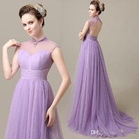 Cheap Lavender High Neck Fashion Tulle Bridesmaid Dresses Backless Long Formal Prom Gowns 2015 A Line Pleated Beaded Fashion Evening Gowns