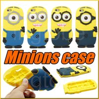 big eye leather - iphone D Cute Minions Despicable Me2 Case Soft Silicone Cartoon Back Cover Smile Big Eye minions for iphone S S