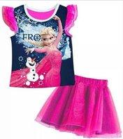 Wholesale Summer Frozen Baby Tutu Skirt Set Fly Sleeve Elsa Vest T Shirt Skirt Girl Suit Rose Red Colour Heat Transfer Printing WD381