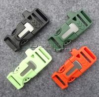 Wholesale 10pcs quot mm Fire Starter Survival Whistle Buckle Flint Scraper For Paracord Bracelte Backpack Colors