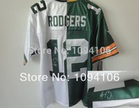 aaron rodgers signed jersey - Factory Outlet Aaron Rodgers Signed White Green Split Elite New Brand Authentic Football Jerseys Sewn On Jersey Chea