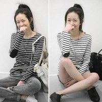 Cheap Womens New Long Sleeve Classic Striped Contrast T-shirt for Women tops Blouse M L XL XXL#SV007817