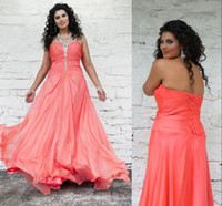 Wholesale Sexy Halter Coral Plus Size Prom Party Dresses Beads A line Pleats Crystals Bridal Evening Pageant Gowns Spring Summer Arabic