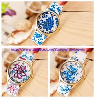 ceramic flowers - Fashion ladies women Elegant Blue And White Porcelain Watch Flower Leather PU Ceramics printing Dress watches colors