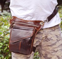 cooler pack - Genuine Leather Oiled Leather Waist Bag Packs Sports Outdoor Packs Many Small Pockets Cool Outdoor Fashion Bag Factory
