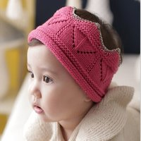 Wholesale Crochet Crowns For Babies - 2016 Baby Knitted Crown caps infant fashion Hat Cute Crown Hats For Kids Boys Girls blue black rose yellow for choose