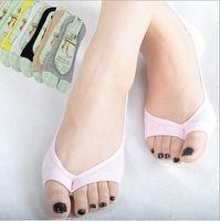 Women bamboo fibre socks - Hot new Bamboo fibre women s socks summer thin open toe socks female toe slippers invisible non slip set