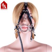 Wholesale Davidsource Silver Metal Noise Hook Spider Loop mm Gag Blow Job Head Harness Adjustable Slave Training BDSM Bondage Gear Sex