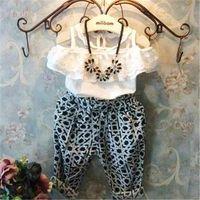 Cheap Summer baby girls lace blouse shirts+fashion haren pants 2pcs clothes set children's clothing kids roupas infantil meninas