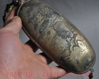Wholesale 16cm china pure bronze red copper boy lad Calligraphy Immortal God Glasses case