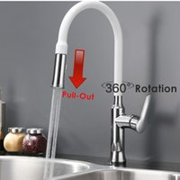 kitchen faucet - Brass Chrome Swivel Deck Mounted Sink Mixer Water Tap Copper Para Torneiira Sprayer White Pull Out Kitchen Faucet