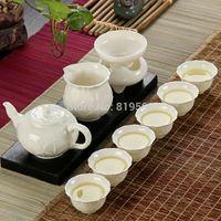 Wholesale Quality Chinese Dehua Ceramic Gift Kungfu Tea Set Porcelain Lotus Teapot Bone China Tea Cup Set