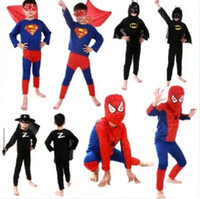Wholesale Spiderman Superman Batman Zorro Halloween Costume Suits Kits For Kids Children superhero suits spiderman costume set long sleeve in stock