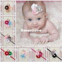 Wholesale New Arrival Rhinestone Flower Baby Headbands for Photography Props Fabric Satin Rose Headbands Multi Color CHB040