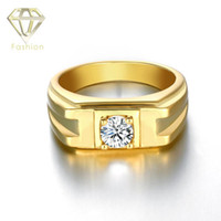 Wholesale Mens Diamond Rings New Fashion K Rose White Gold Plated with Cubic Zircon Diamond Stone Simple Ring for Wedding