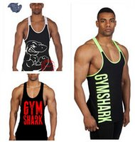 Wholesale 2016 Newest men gym tank tops Gymshark tank top Vest Stringer Bodybuilding Singlet cotton Sport Sportswear Men s Fitness Clothing