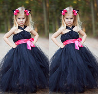 affordable fashion - Navy Blue and Pink Flower Girls Dresses for Weddings Fashion Halter A Line Simple Tulle Floor Length Back Zipper Kids Party Gowns Affordable