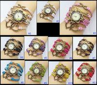 asian school - Fashion Retro Love Heart Pendant Leather Weave Lady Bracelet Quartz Wrist Watch One Direction School Student Knitted Bracelet ZJ N24