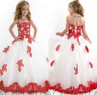 Blanco y rojo Chicas del desfile de vestidos hermosos Cuentas appliquéd Encuadre de cuerpo entero netas del vestido de bola las muchachas de flor vestidos de Navidad para niños vestidos de novia