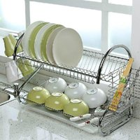 Wholesale DHL Best selling TIER CHROME PLATE DISH CUTLERY CUP DRAINER RACK DRIP TRAY PLATES HOLDER UK