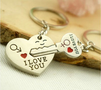 Wholesale 2016 Valentine Gift Couple rings I LOVE YOU Key Chain kiss baby Heart Ring arrow through heart Lover Keyring Romantic Birthday gift