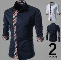 Wholesale 2 Colors Splice Plaid Long Sleeve Mandarin Collar Button Man Shirt Fashion Soft Casual Gentleman N1788