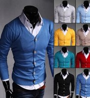 Wholesale yellow wool sweater Men Brand cotton Slim fit super thin v neck Cardigan sweater red blue yellow Mens Sweaters