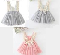 baby slip dress - 2016 Kids Girls Tulle Lace Bow Party Dresses Baby Girl TuTu Princess Dress Babies Korean Style Suspender Dress girls slip dresses